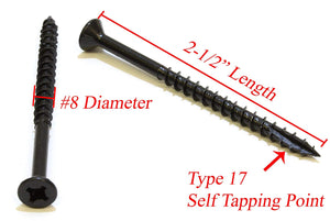 Black E-Coat w/Lube Flat Head Wood Screw, Self Tapping Type 17 Point - Choose Size & QTY