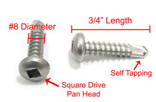 Load image into Gallery viewer, Pan Head Square Drive Sheet Metal Self Tapping Screws, 410 Stainless, Self Drilling Choose Size and QTY