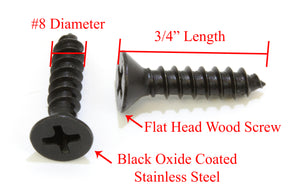 Black Oxide Coated Stainless Flat Head Phillips Wood Screw, 18-8 (304) Stainless Steel Screw By Bolt Dropper - Choose Size/Length & QTY