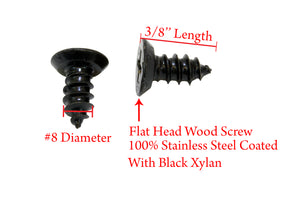 Black Xylan Coated Stainless Flat Head Phillips Wood Screw, 18-8 (304) Stainless Steel Screw By Bolt Dropper - Choose Size & QTY
