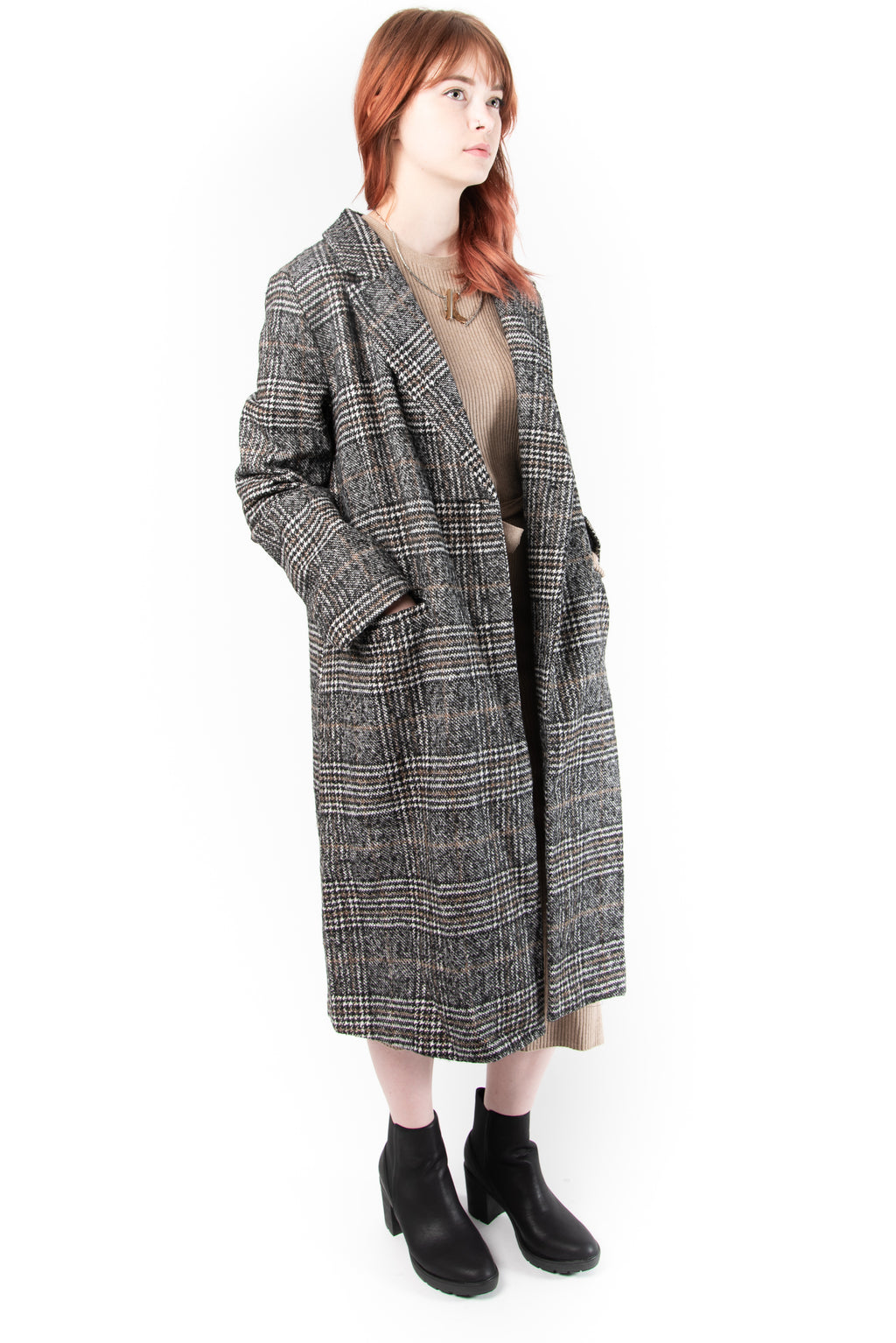 Sage the Label Plaid Coat
