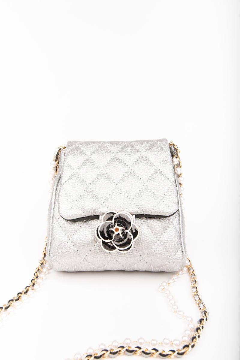 Inzi Quilted Purse Silver