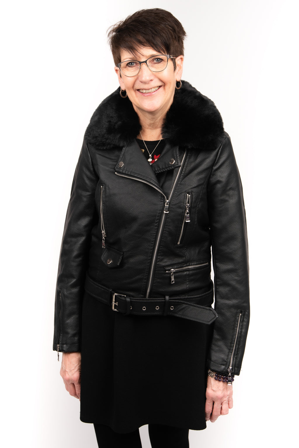 Molly Bracken Fur Lined Moto Jacket