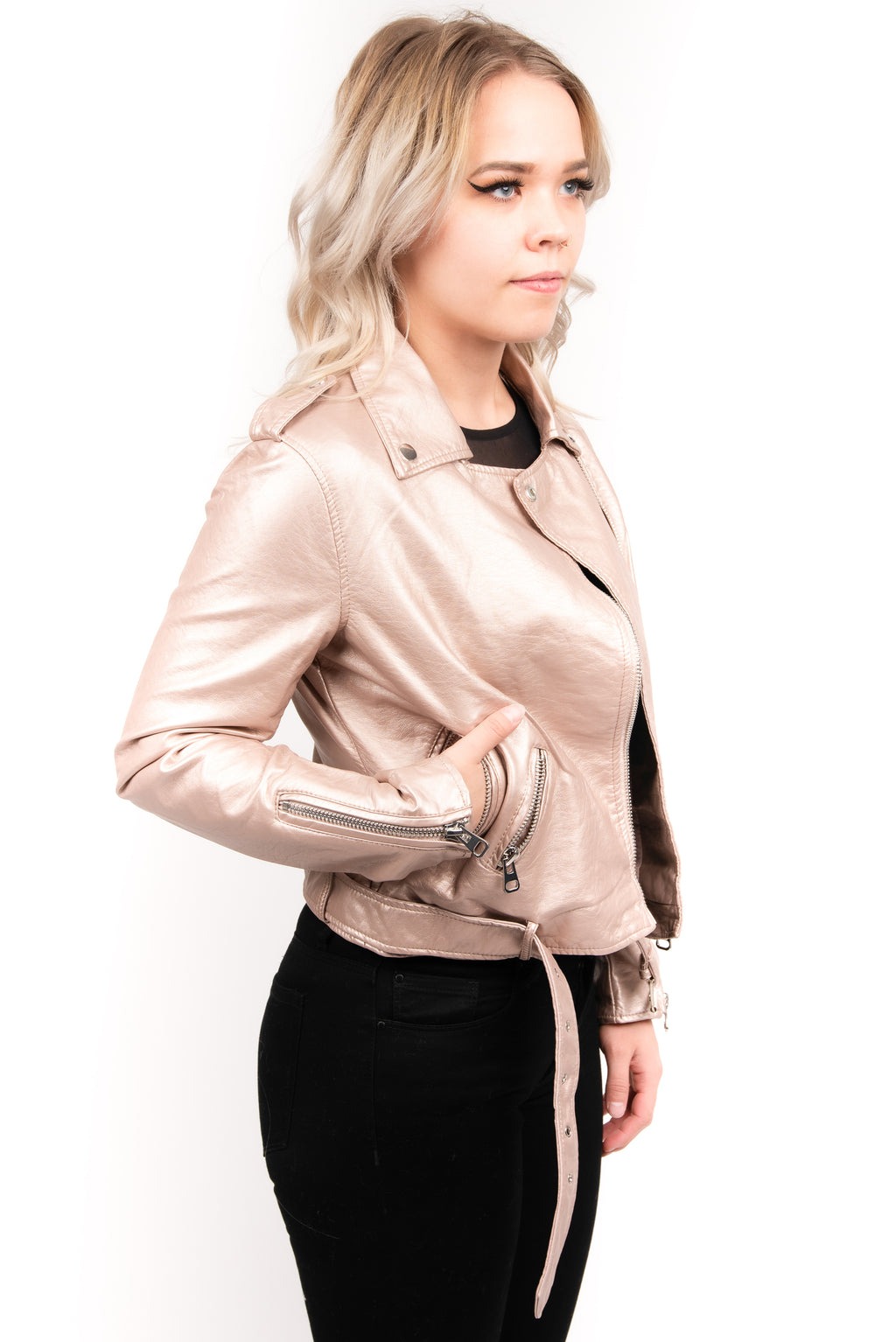 Molly Bracken Metallic Moto Jacket