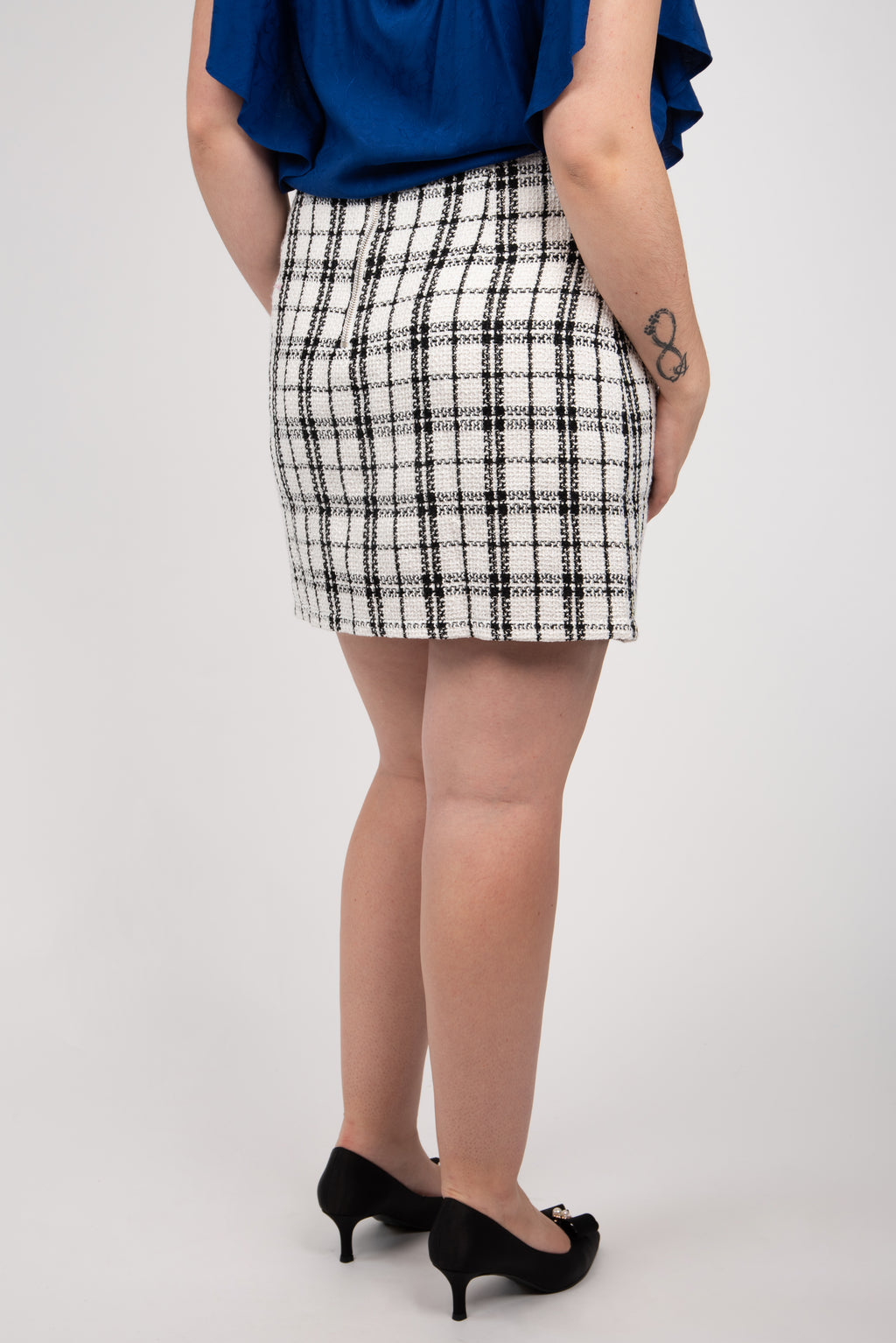 Apricot Plaid Woven Skirt