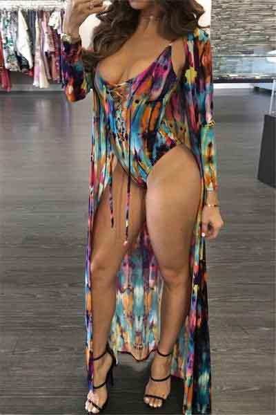 Tie Dye Lace-Up Bikini & Cover UP