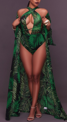 Printed Beach Robe Wrap Cover Up and Plain One Piece Swimsuit