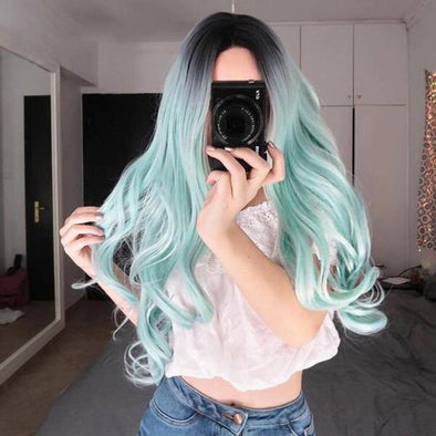 Fashion Long Curly Big Wave Gradient Hair Set