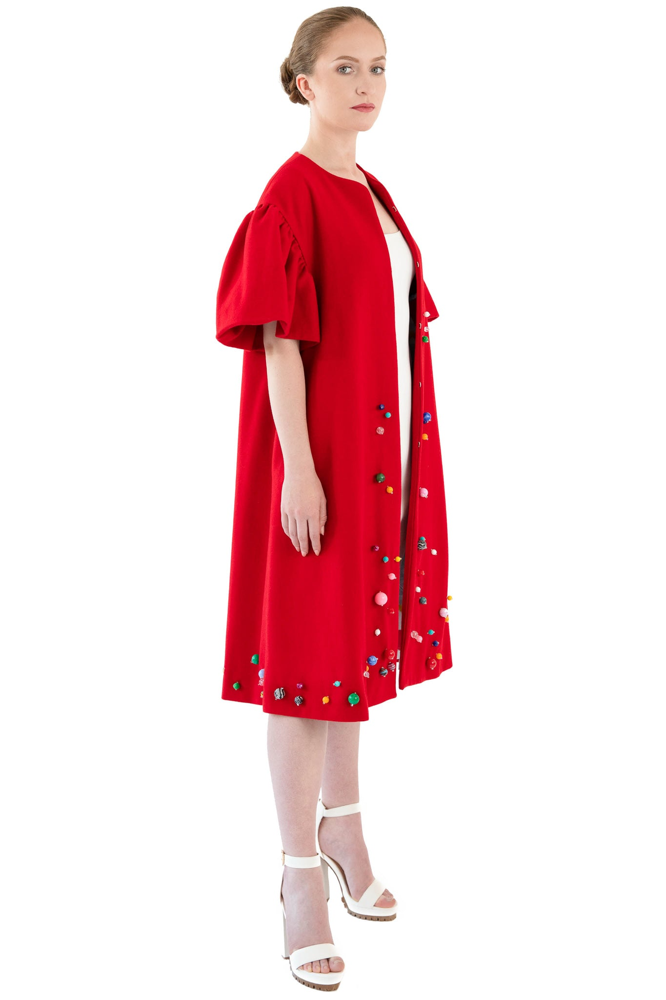 Women's red wool opera coat with bead trim