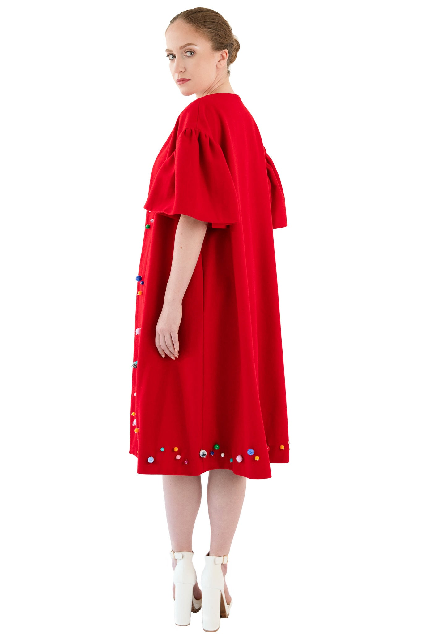 Women's red wool beaded opera coat