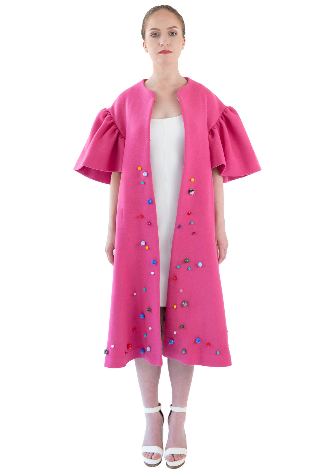 Front of women's pink hand beaded opera coat