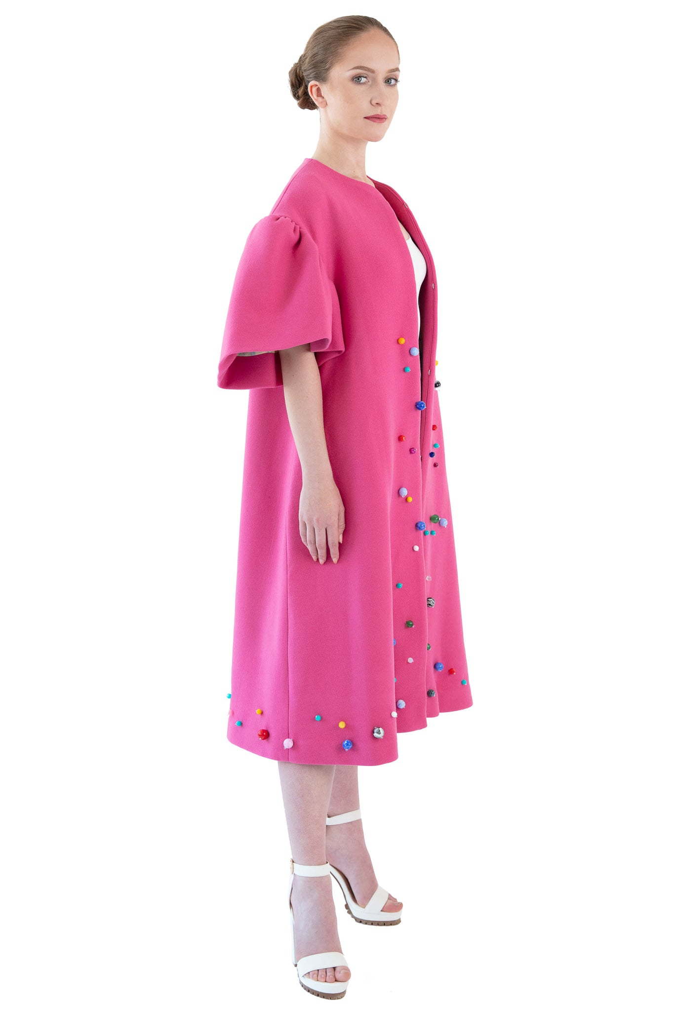 Pink beaded opera coat with bell sleeves