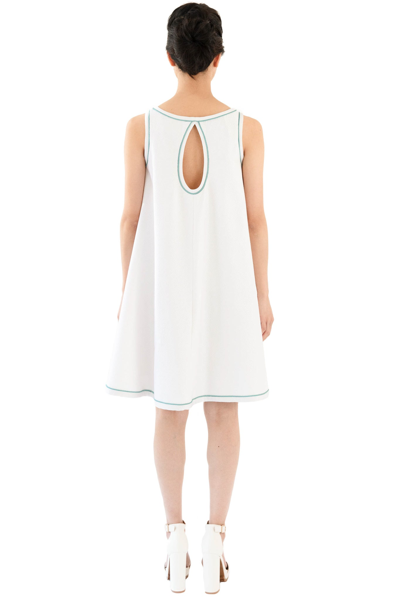White sleeveless dress with blue trim