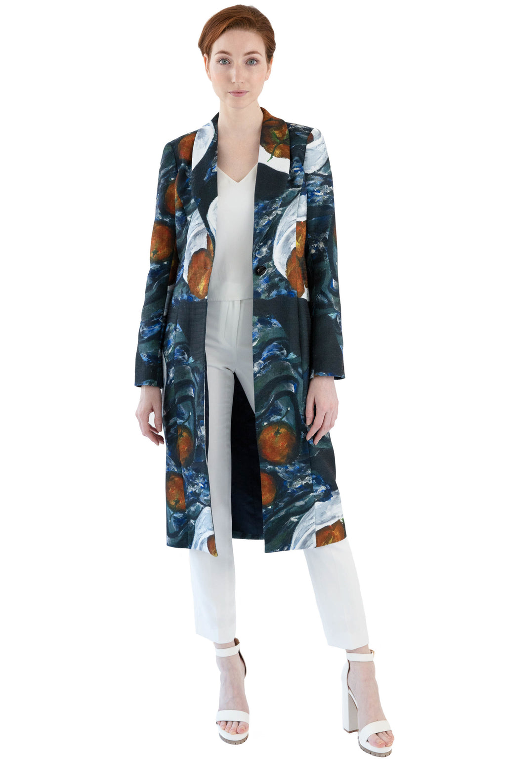 Women's printed coat with shawl collar