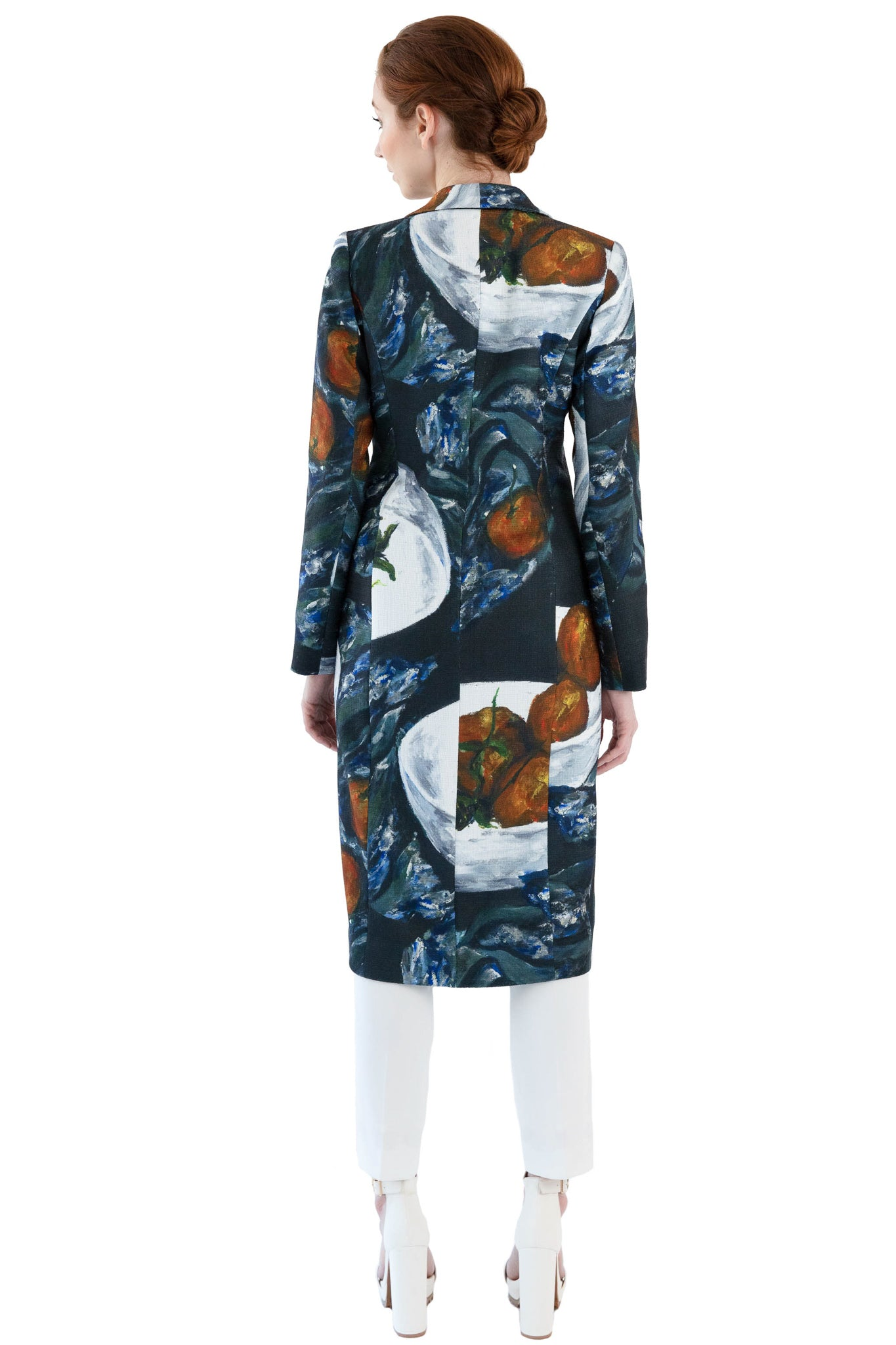 Back of women's printed coat with shawl collar