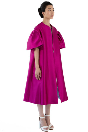 Women's fuchsia opera coat with bell sleeve
