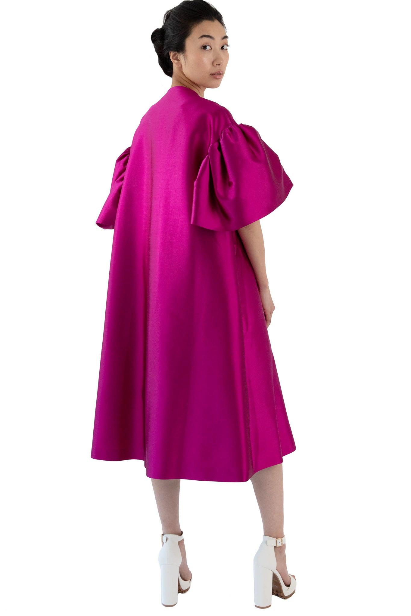Women's fuchsia opera coat