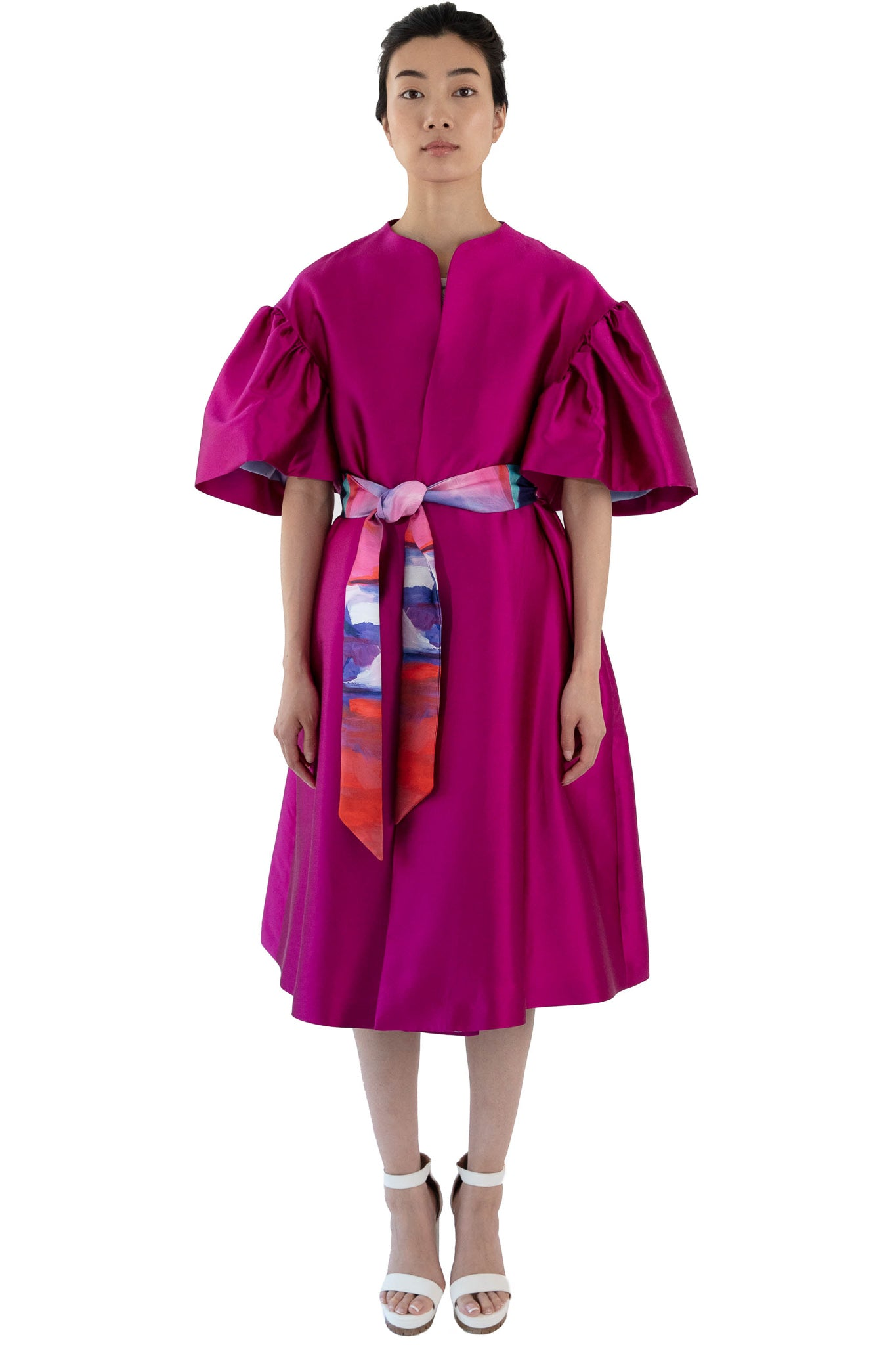 Fuchsia opera coat with printed belt