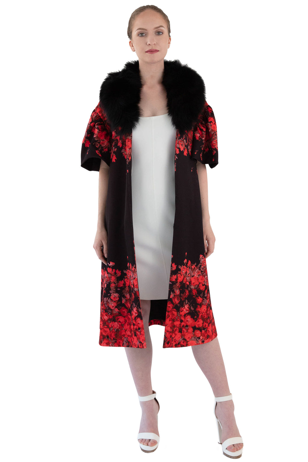 Front women's red floral coat with detachable black fox fur collar