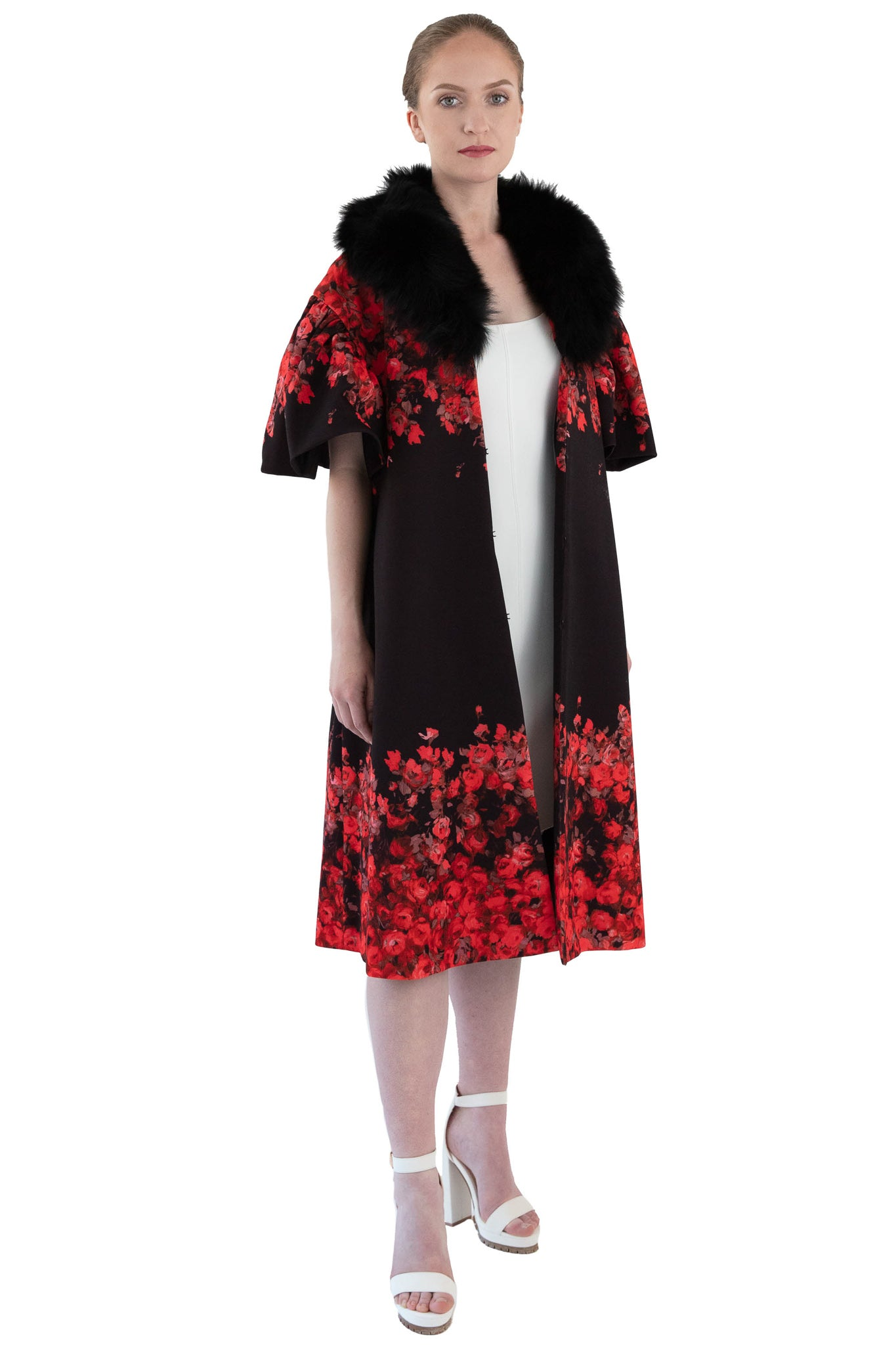 Women's red floral coat with detachable black fox fur collar