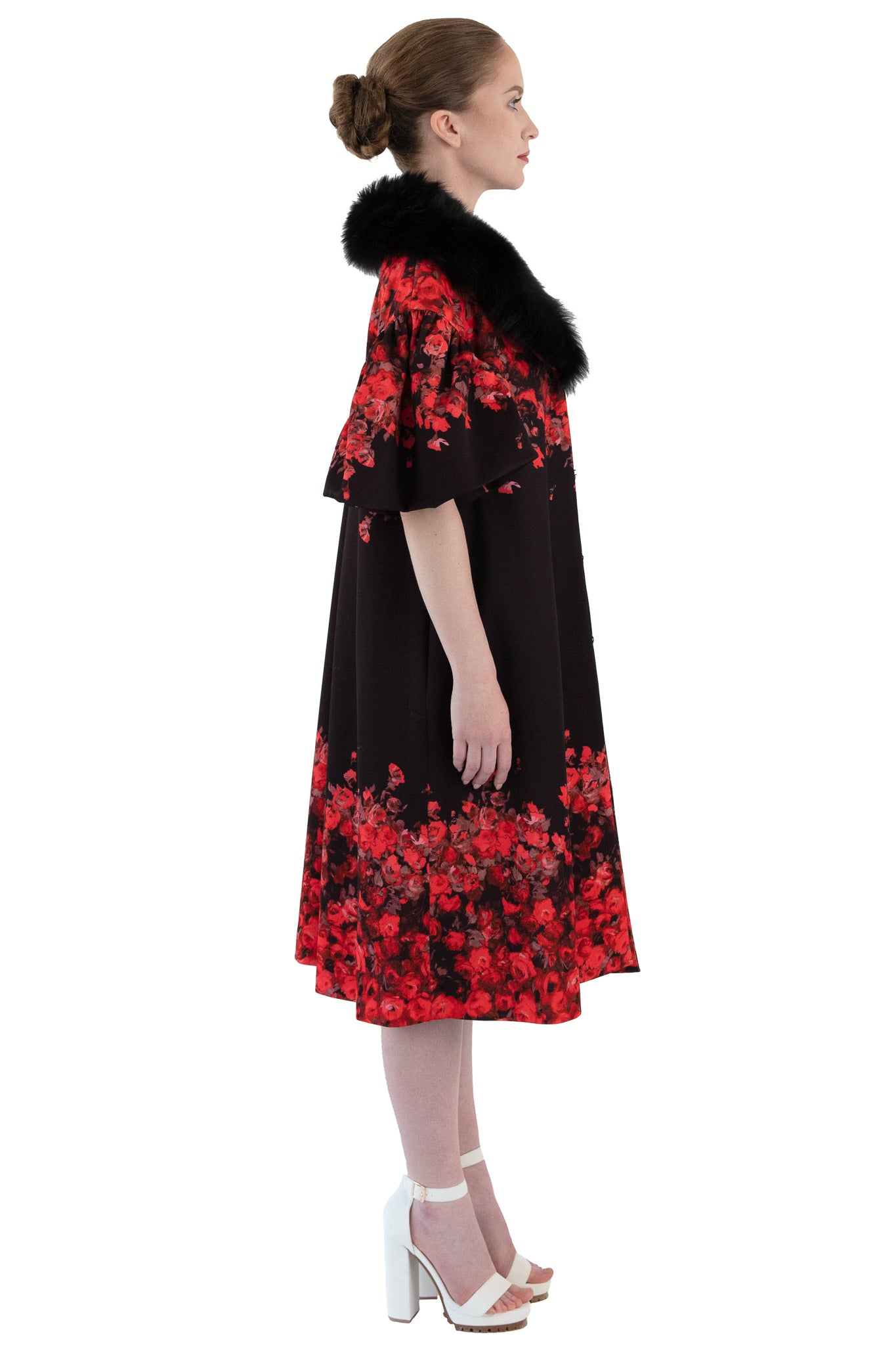 Side view of floral opera coat with detachable fur collar