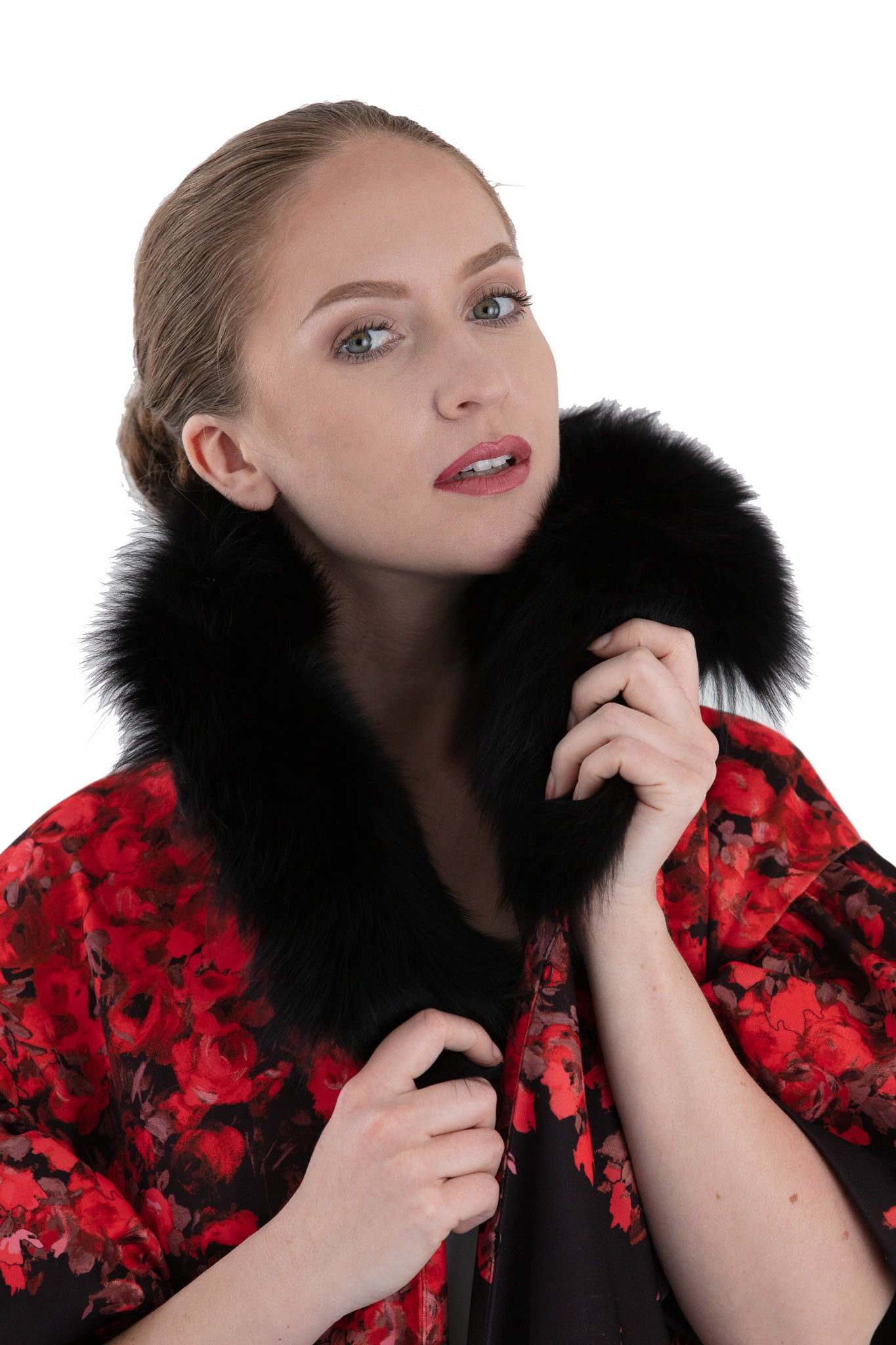 Detachable black fox fur collar on women's floral opera coat