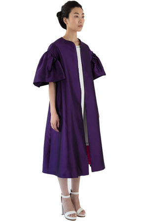 Women's opera coat in purple with detachable belt
