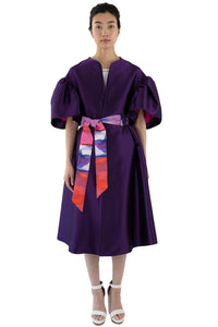 Purple opera coat with printed belt