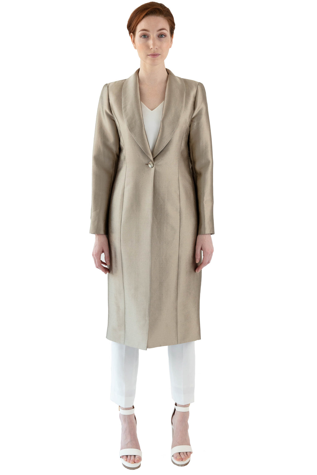 Women's gold coat with shawl collar