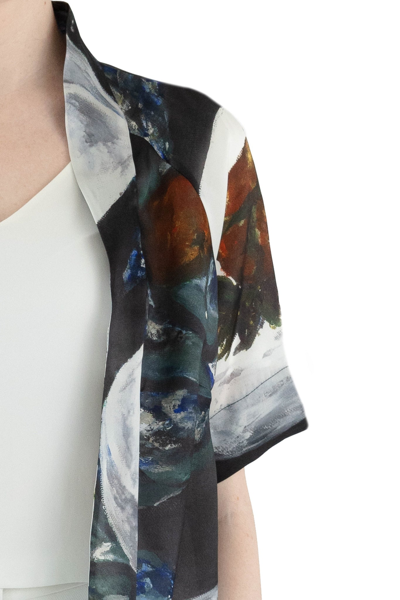 Close up of collar of women's silk organza jacket