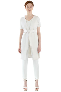Women's white pebbled vest with belt