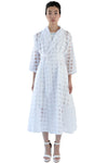 White window pane wrap dress with belt