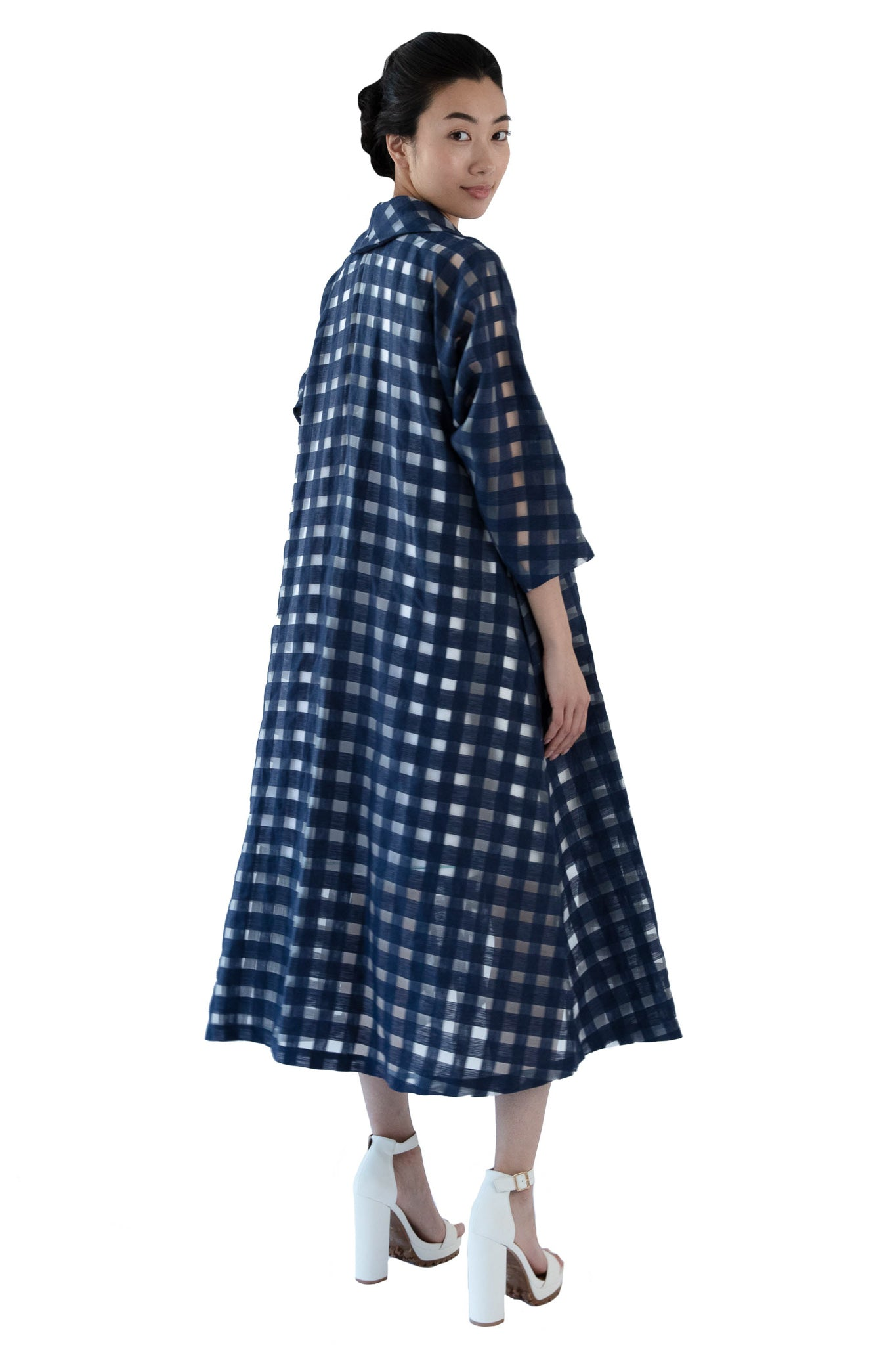 Back of window pane navy wrap dress
