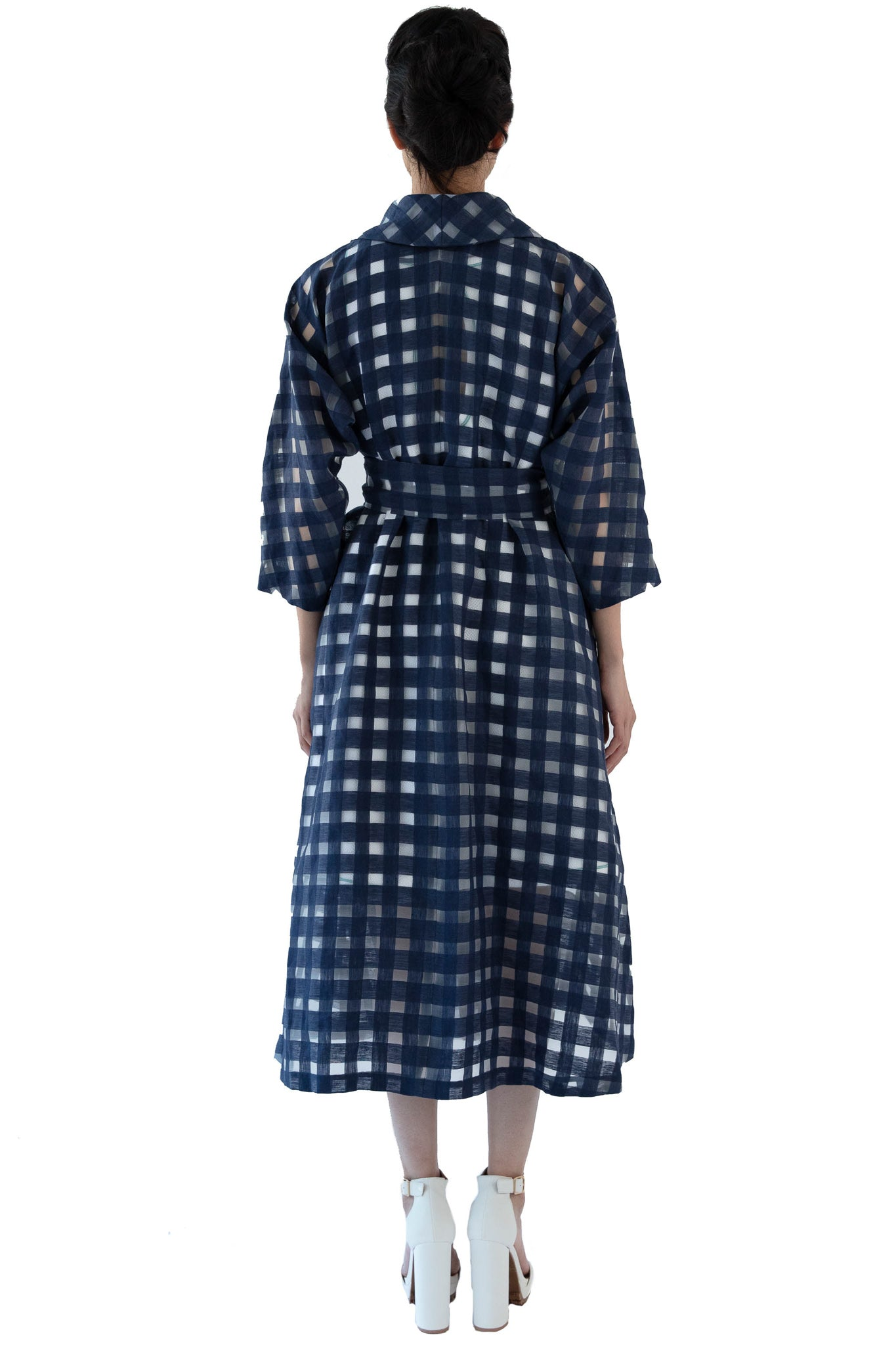 Back of navy blue window pane wrap dress with belt