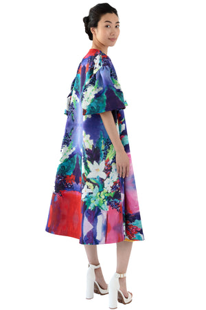 Women opera coat in flora print with pockets