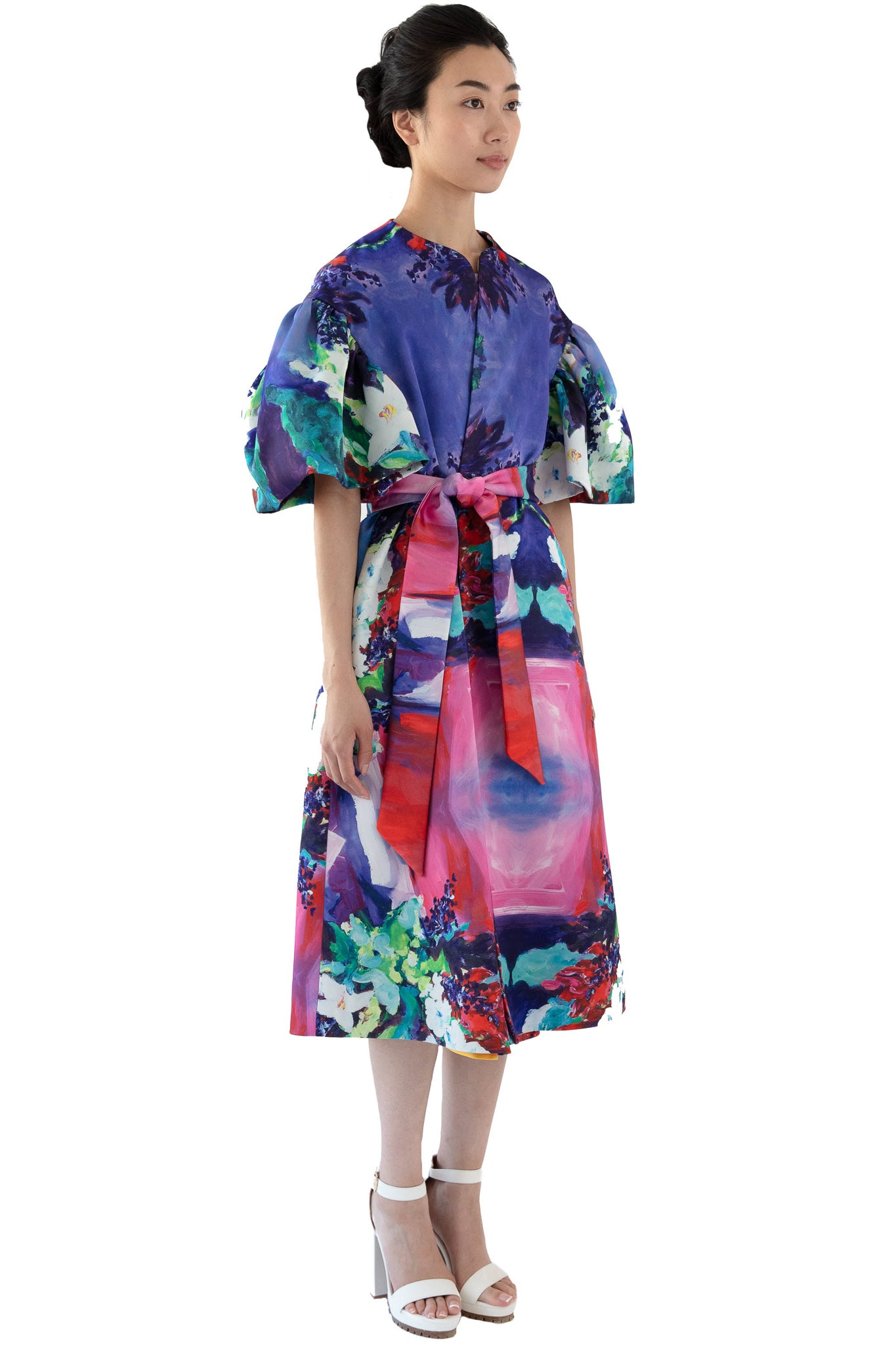 Women's floral print opera coat with belt