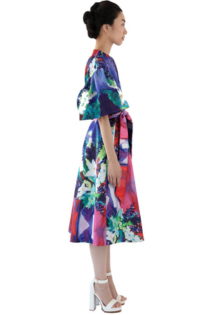 Women's belted floral opera coat