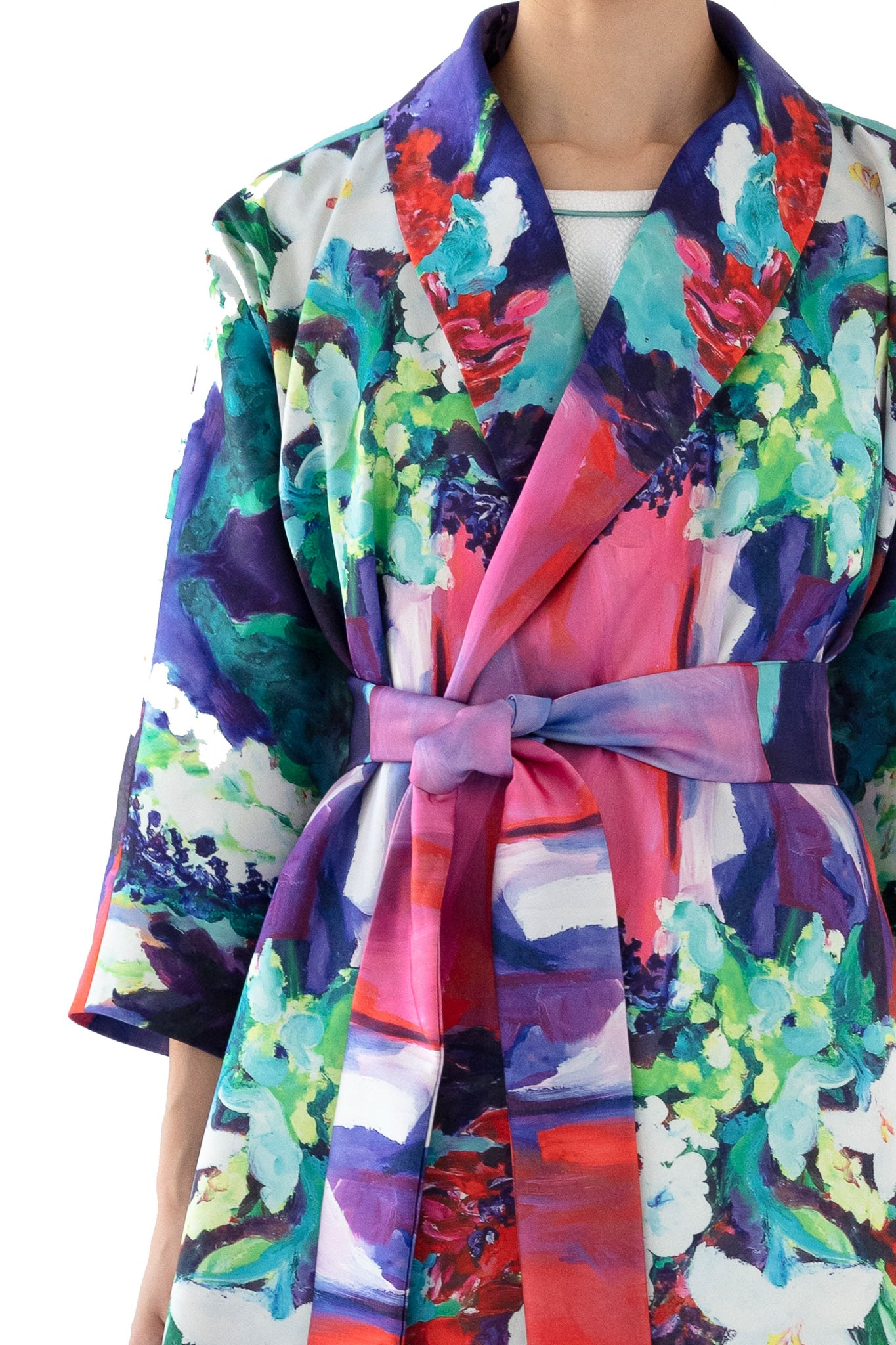 Close up of floral print wrap dress
