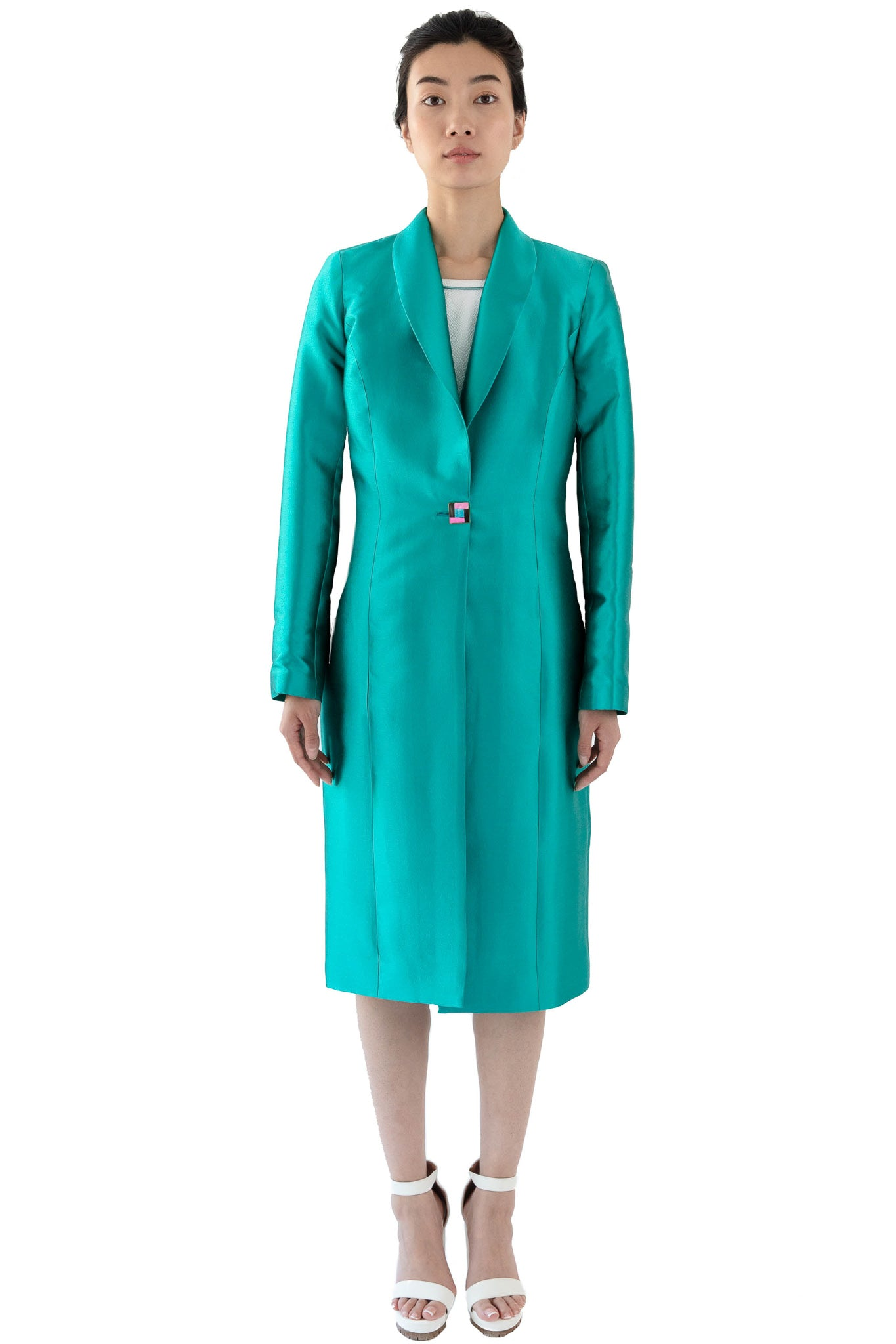 Turquoise women's shawl collar coat