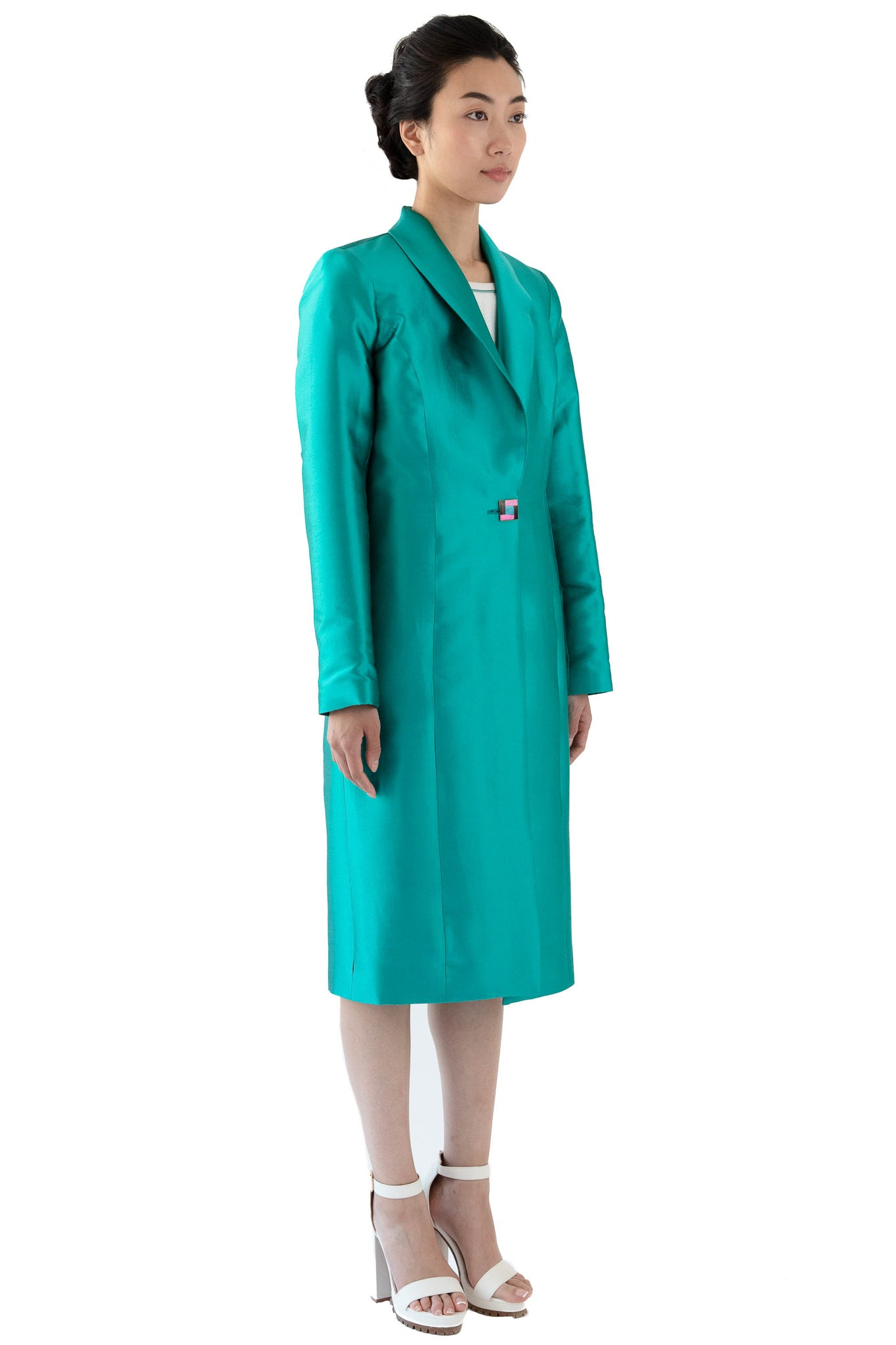 Women's silk wool turquoise coat