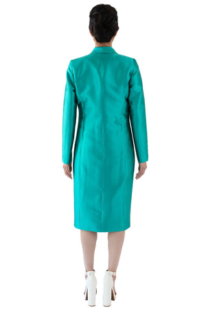 Back of women's shawl collar coat in turquoise