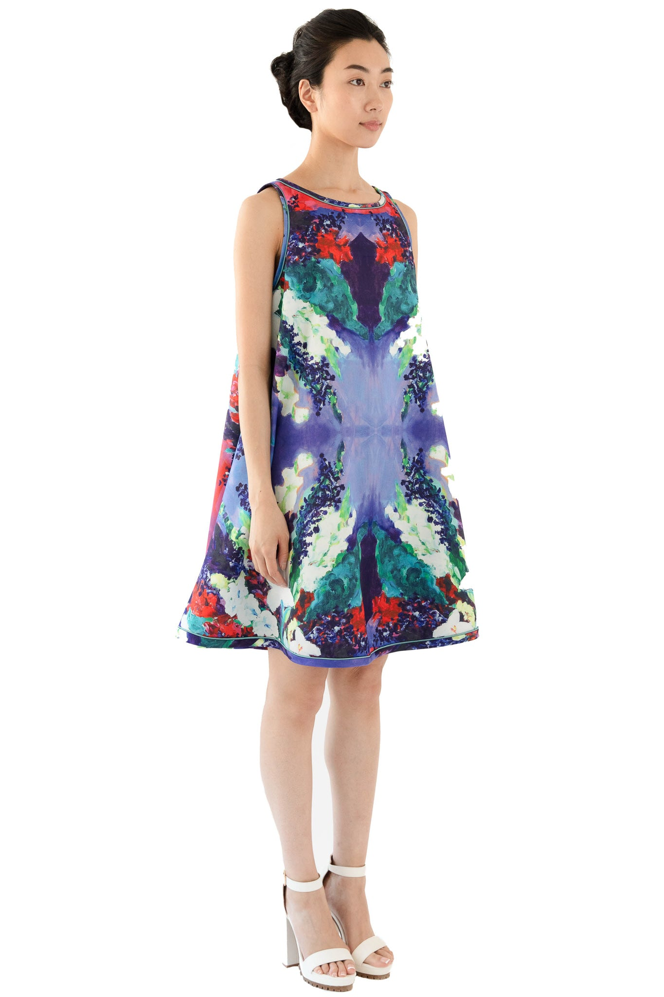 Women's knee length dress with floral print