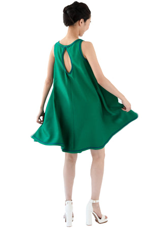 Sleeveless short green short dress with keyhole back