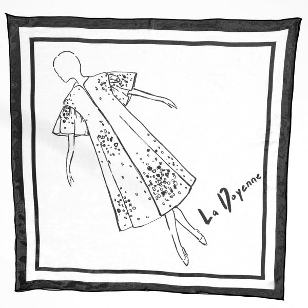 white silk scarf with print of dancer drawn in black ink