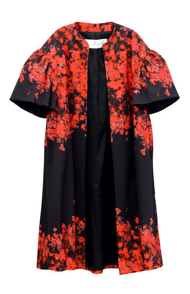 Front of women's floral opera coat