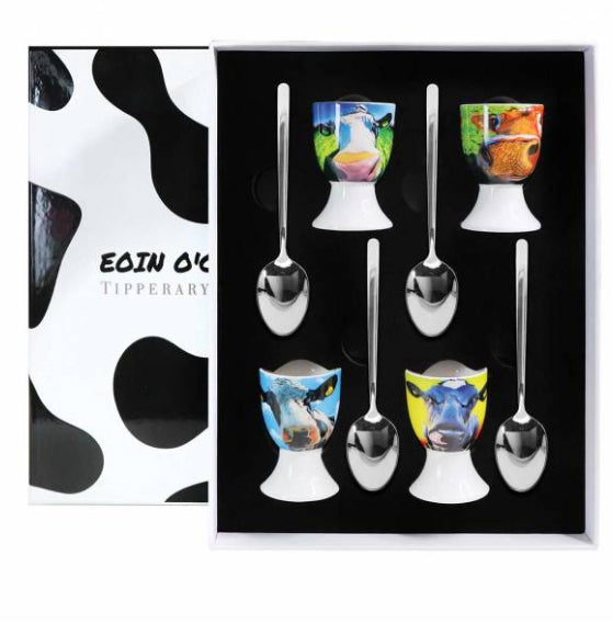 Eoin O Connor Set Four Cow Egg Cup Set - NEW 2020