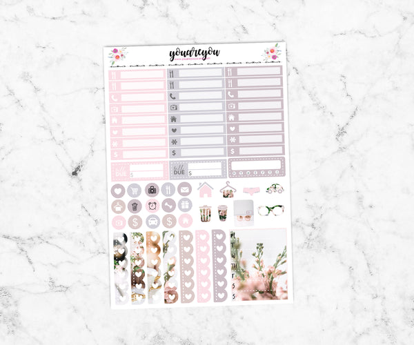 FOILED Baby Blush Planner Stickers Full Kit Vertical