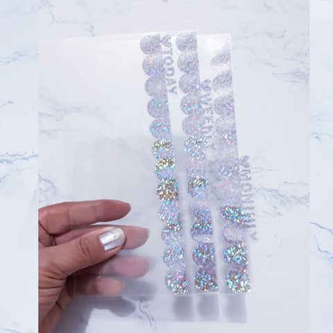 Foiled Clear Scallop Planner Dividers with Heart Tabs