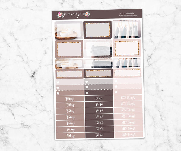 FOIL Planner Stickers Full Kit Vertical - Cozy Weather