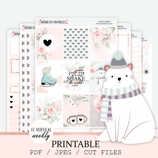 PRINTABLE Erin Condren Planner Stickers, Vertical Weekly Kit - Gentle Breeze